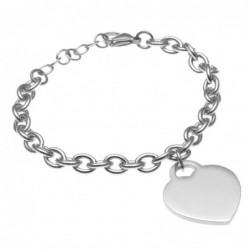 bracciale donna con cuore in acciaio catena forzatina