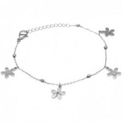 bracciale donna con fiorellini in acciaio