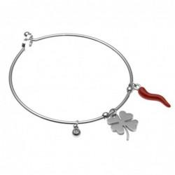 bracciale donna rigido con corno rosso e quadrifoglio in acciaio