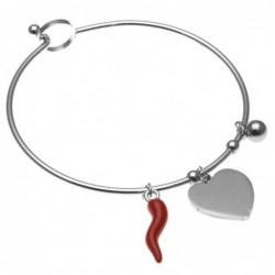 bracciale donna rigido con corno rosso e cuore in acciaio in acciaio