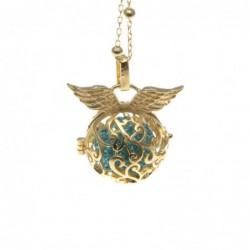 Chiama angeli collana in bronzo dorato pallina di strass