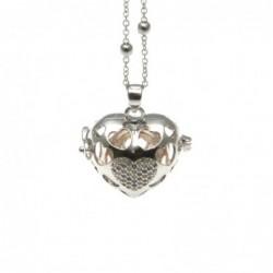 Chiama angeli collana in bronzo con cuore e strass colorati