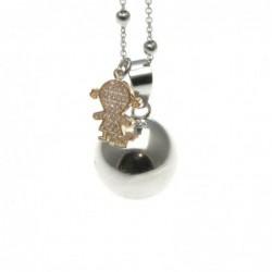 Chiama angeli collana in bronzo con bebe femminuccia