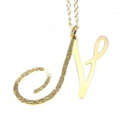 collana donna con lettera o iniziale n in bronzo