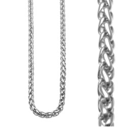 Collana girocollo in acciaio maglia a spiga kit 10 pezzi