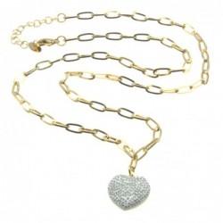 collana donna cuore acciaio dorato e strass