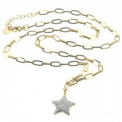 collana donna stella acciaio dorato e strass