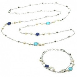parure donna collana e bracciale in bronzo perle e cristalli