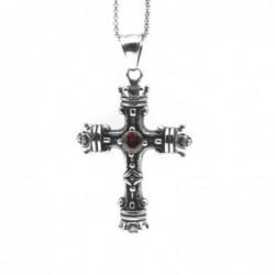 collana con croce in stile massone acciaio