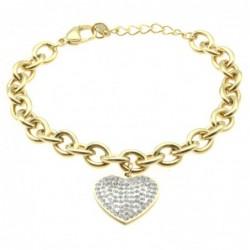 bracciale donna cuore in acciaio dorato