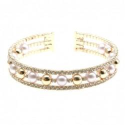 bracciale perle strass donna rigido bronzo